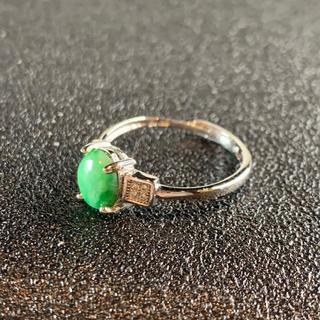 卸値 指輪 本翡翠 緑色 ヒスイ A貨 シルバー 誕生日プレゼント 本物保証92(リング(指輪))