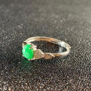 卸値 指輪 本翡翠 緑色 ヒスイ A貨 シルバー 誕生日プレゼント 本物保証93(リング(指輪))