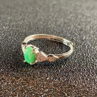 卸値 指輪 本翡翠 緑色 ヒスイ A貨 シルバー 誕生日プレゼント 本物保証87(リング(指輪))