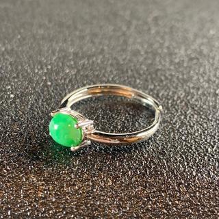 卸値 指輪 本翡翠 緑色 ヒスイ A貨 シルバー 誕生日プレゼント 本物保証85(リング(指輪))