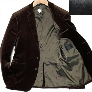 スーツカンパニー(THE SUIT COMPANY)のJ5027 美品 スーツカンパニー ベロアテーラードジャケット ブラウン L(テーラードジャケット)
