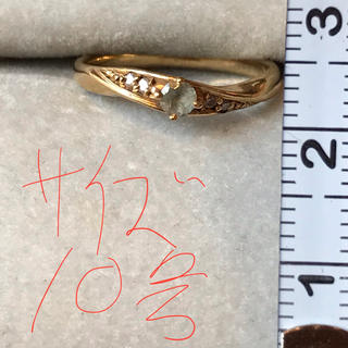 k18 アクアマリン/メレダイヤモンドリング(リング(指輪))