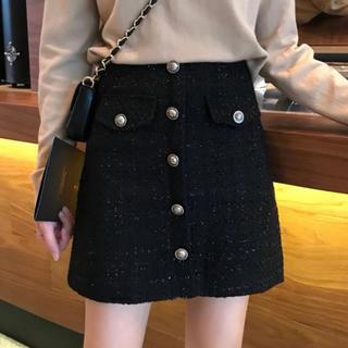 ロキエ(Lochie)のボタン付き ツイード スカート ブラック L(ミニスカート)