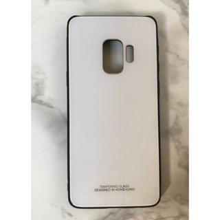 ギャラクシー(Galaxy)のシンプル&男女兼用♪耐衝撃背面9Hガラスケース GalaxyS9 ホワイト 白(Androidケース)