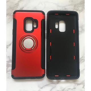 ギャラクシー(Galaxy)のGalaxyS9Plus カッコいい リング付き耐衝撃ケース  レッド 赤(Androidケース)