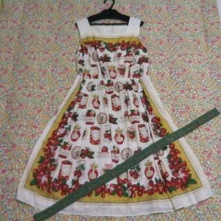 ジェーンマープル(JaneMarple)のジェーンマープル strawberry label scarf スクエアドレス(ロングワンピース/マキシワンピース)