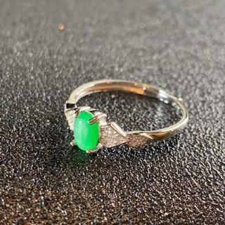 卸値 指輪 本翡翠 緑色 ヒスイ A貨 シルバー 誕生日プレゼント 本物保証82(リング(指輪))