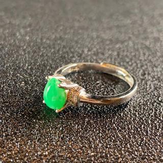 卸値 指輪 本翡翠 緑色 ヒスイ A貨 シルバー 誕生日プレゼント 本物保証80(リング(指輪))