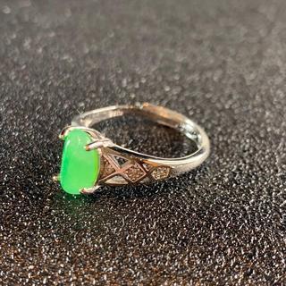卸値 指輪 本翡翠 緑色 ヒスイ A貨 シルバー 誕生日プレゼント 本物保証79(リング(指輪))