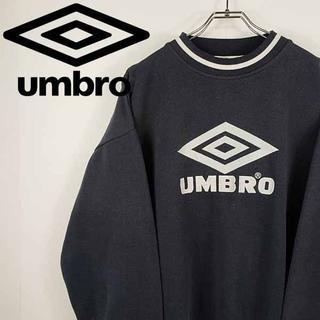 アンブロ(UMBRO)の【古着】アンブロ umbro 刺繍 ビッグロゴ スウェット トレーナー ブラック(スウェット)