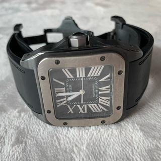 カルティエ(Cartier)のカルティエ サントス100 カーボンAT/黒文字盤SS×チタン (腕時計(アナログ))
