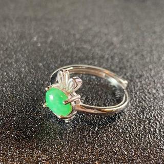 卸値 指輪 本翡翠 緑色 ヒスイ A貨 シルバー 誕生日プレゼント 本物保証76(リング(指輪))