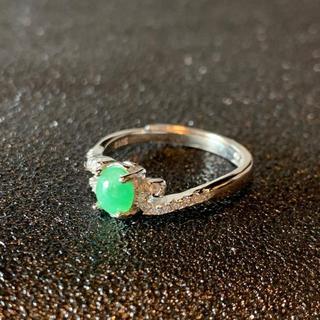 卸値 指輪 本翡翠 緑色 ヒスイ A貨 シルバー 誕生日プレゼント 本物保証69(リング(指輪))