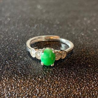 卸値 指輪 本翡翠 緑色 ヒスイ A貨 シルバー 誕生日プレゼント 本物保証67(リング(指輪))