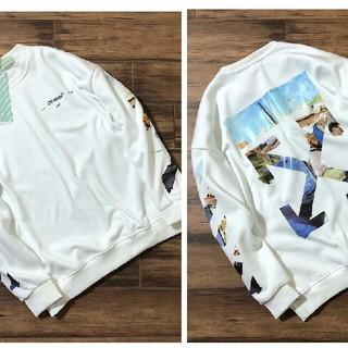 オフホワイト(OFF-WHITE)の丸襟にカシミヤ(Tシャツ(長袖/七分))