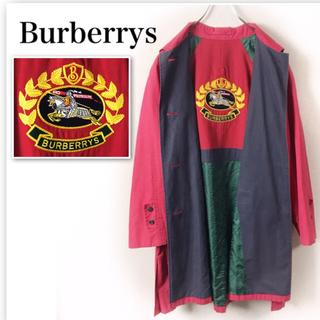 バーバリー(BURBERRY)のオールドバーバリーステンカラーコート 刺繍 アーカイブロゴ 9AR Mサイズ(ロングコート)