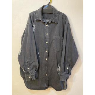 ジーナシス(JEANASIS)のJEANASIS デニムクラッシュ オーバーシャツ ブラック(Gジャン/デニムジャケット)