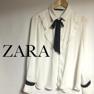 ZARA - ZARA ザラ ブラウス とろみブラウス フリル リボン付き