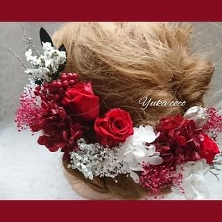 真っ赤なバラのドライフラワー ヘッドドレス❁成人式 結婚式 前撮り 振袖 赤(ヘッドドレス/ドレス)