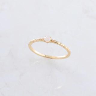 K10 一粒 ミルキーキュービックジルコニア ピンキーリング(リング(指輪))
