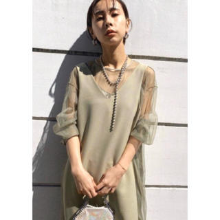 Ameri VINTAGE - Ameri TULLE DOCKING DRESS セージ