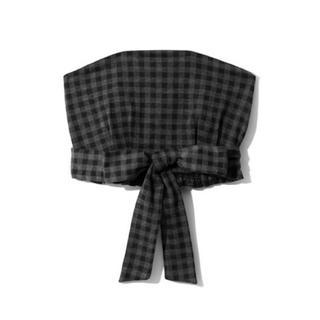 グレイル(GRL)のGRL フロントリボンギンガムチェックビスチェ チャコール 韓国ファッション 秋(ベアトップ/チューブトップ)