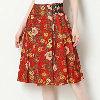 E hyphen world gallery - レトロな花柄のひざ丈ラップスカート