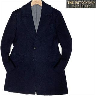 スーツカンパニー(THE SUIT COMPANY)のJ3086 美品 スーツカンパニー ヘリンボーン チェスターコート ネイビー L(チェスターコート)