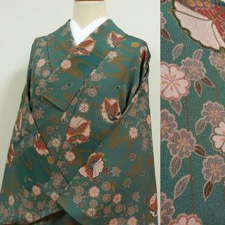 山藍摺色のぼかしに桜と蝶 洗える小紋(着物)