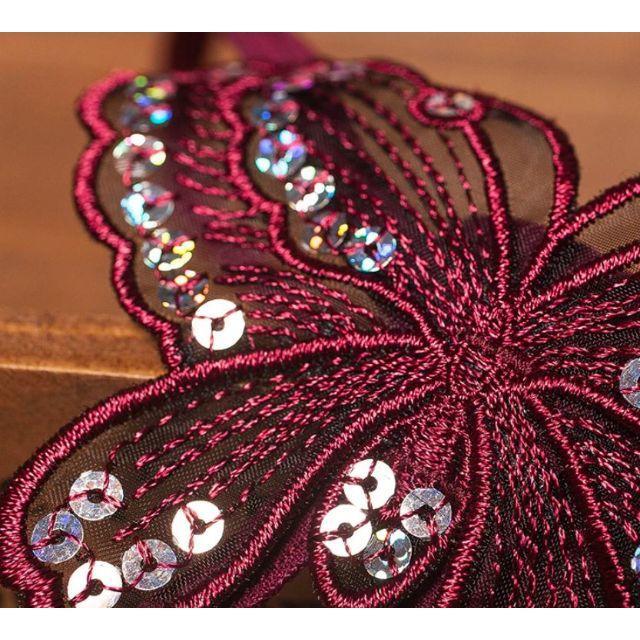 パール真珠型ストリングOPENクロッチGストリング・色:Bordeaux RED エンタメ/ホビーのコスプレ(コスプレ用インナー)の商品写真