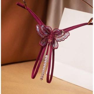パール真珠型ストリングOPENクロッチGストリング・色:Bordeaux RED(コスプレ用インナー)