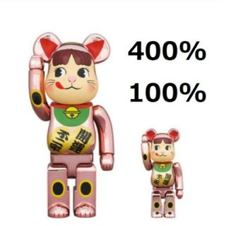 BE@RBRICK 招き猫 ペコちゃん 桃金メッキ 100% & 400%