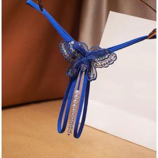パール(真珠形)ストリングOPENクロッチGストリング・色:BLUE(コスプレ用インナー)