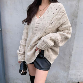 ムルーア(MURUA)の【予約商品】Vネック ロングニット 韓国ファッション 冬服(ニット/セーター)