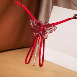 パール(真珠形)ストリングOPENクロッチGストリング・色:RED(コスプレ用インナー)
