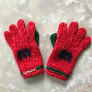 ミキハウス(mikihouse)のミキハウス 手袋 赤 (親指 緑) 16cm、mの編み込み(手袋)