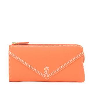 ロベルタディカメリーノ(ROBERTA DI CAMERINO)の新品 本革 山羊革 長財布 オレンジ ラインVRロゴ(財布)