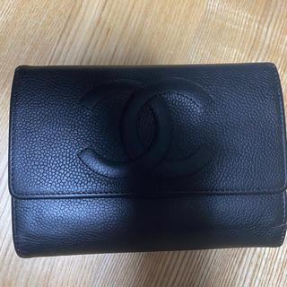 CHANEL - CHANEL シャネル キャビアスキン 折り財布