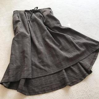 マジェスティックレゴン(MAJESTIC LEGON)のマジェスティックレゴン チェックひざ丈スカート M  ブラウン 茶色 後ろ下り(ひざ丈スカート)