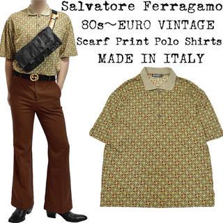 Salvatore Ferragamo - 美品★Ferragamo★フェラガモ★80s★スカーフ柄 ポロシャツ★イタリア製