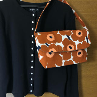 マリメッコ(marimekko)のマリメッコ  UNIKKO 茶色 新色 ショルダーバッグ ハンドメイド(バッグ)