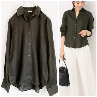 IENA - 極美品✨イエナ フレンチリネンレギュラーシャツ カーキ 長袖 麻