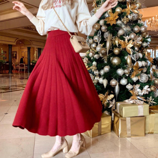 ロキエ(Lochie)のepine / volume knit long skirt red ❤︎(ロングスカート)