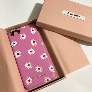 ミュウミュウ(miumiu)のMIUMIU ミュウミュウ iPhoneケース 7 8 ピンク マーガレット 花(iPhoneケース)