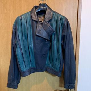 ウィゴー(WEGO)の古着 ライダースジャケット レザージャケット ブルー グリーン 本革(ライダースジャケット)