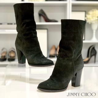 JIMMY CHOO - 224 ジミーチュウ スエード ブーツ 黒