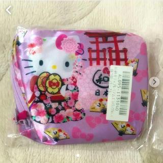 サンリオ - 和柄 キティ プレミアム エコバッグ 飾り鼓 パープル