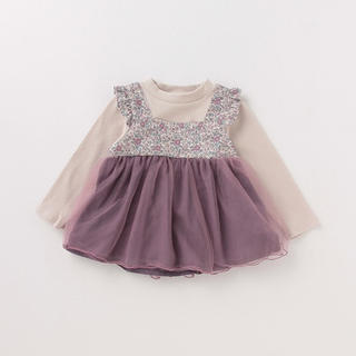 petit main - 花柄×チュールドッキングTシャツ