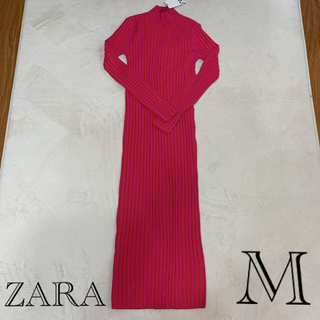 ZARA - 新品タグ付 ZARA  タートルネック リブニットロングワンピース M