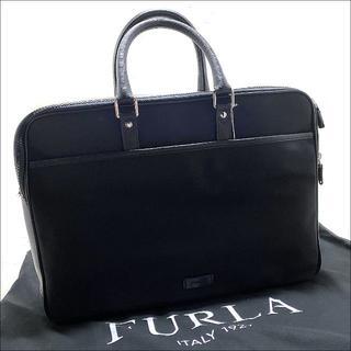 Furla - J5009 新品 フルラ レザー切り替え ビジネスバッグ ブリーフケース 黒
